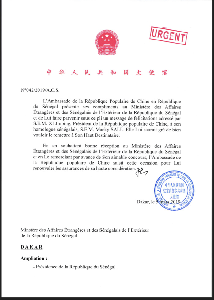 Présidentielle 2019 : La Chine félicite le président Macky Sall (DOCUMENT)