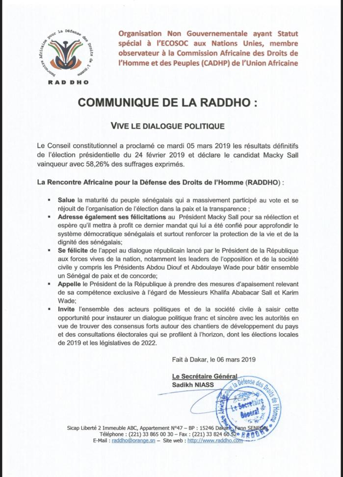 Appel au dialogue de Macky Sall : La Raddho approuve et appelle les acteurs politiques à répondre favorablement... (DOCUMENT)