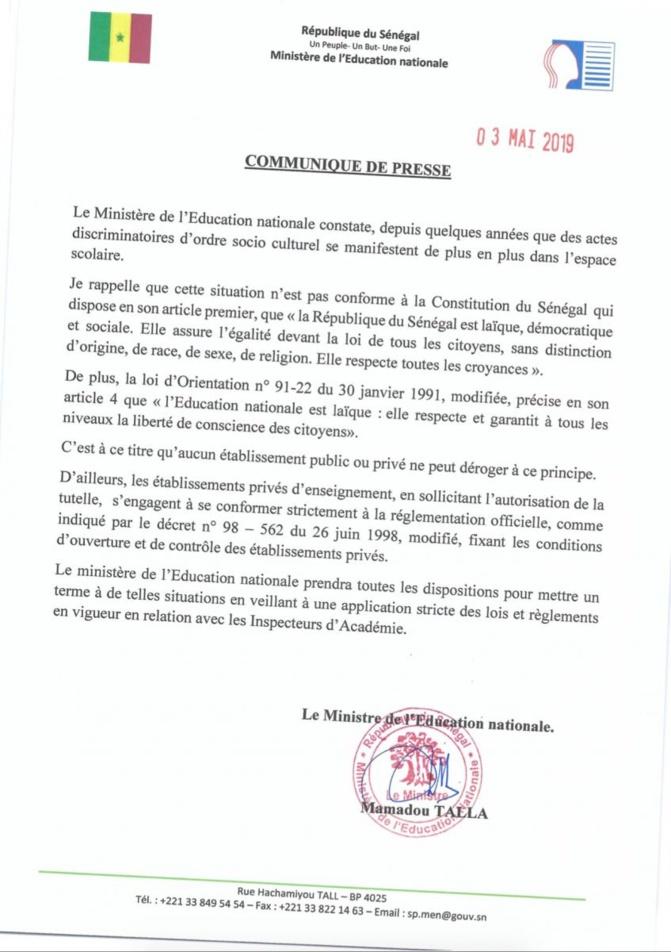 Interdiction du voile à Sainte Jeanne d'Arc : la position du ministère de l'éducation nationale