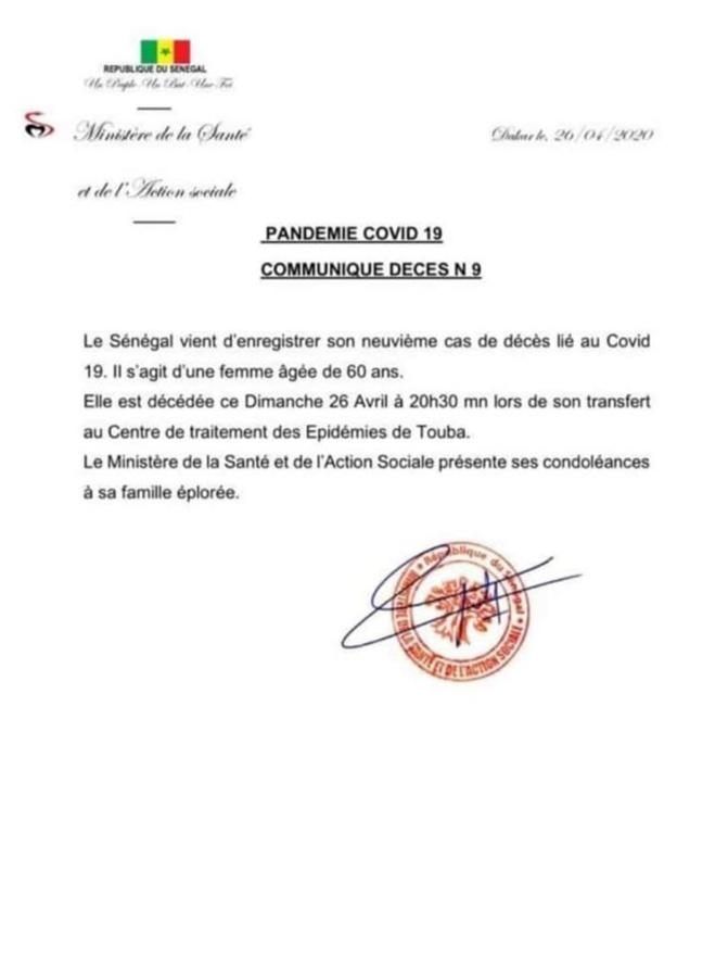 COVID-19 : Un 9ème décès enregistré à Touba